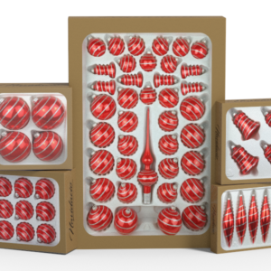 "Product collection of handmade christmas ornaments in ""candy red with glossy silver swirls""."