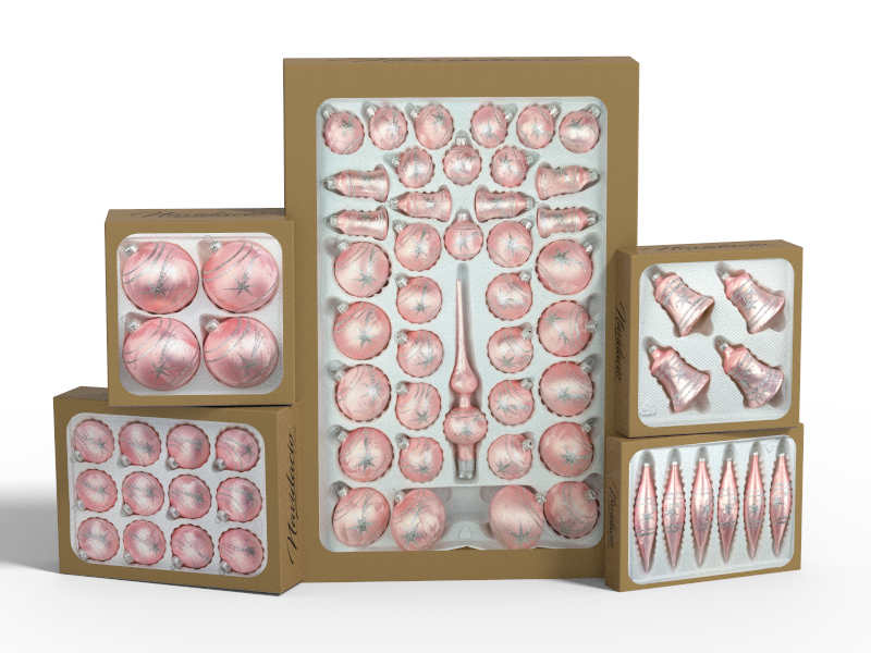 """Product collection of handmade christmas ornaments in """"rose with glossy silver comets""""."""