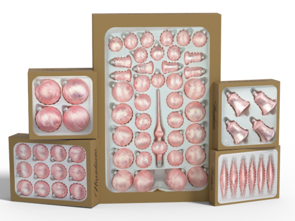 """Product collection of handmade christmas ornaments in """"rose silver""""."""