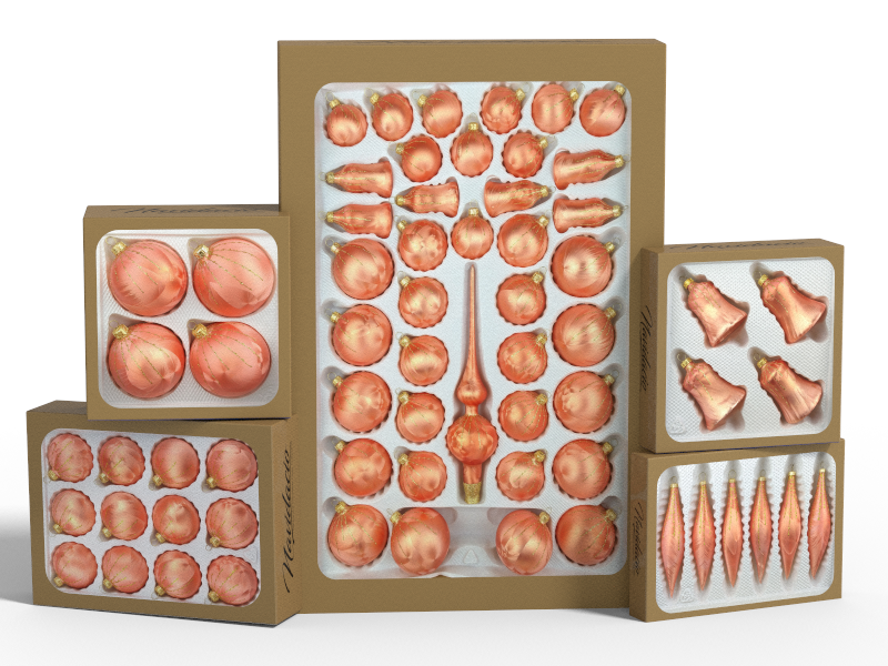 """Product collection of handmade christmas ornaments in """"salmon gold""""."""