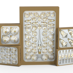"""Product collection of handmade christmas ornaments in """"white with glossy golden comets."""