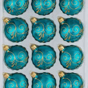 "A set of 12 handmade christmas ornaments in ""ice petrol turquoise gold"" in a ball shape."