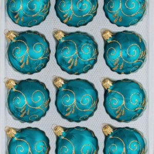 """A set of 12 handmade christmas ornaments in """"ice petrol turquoise gold"""" in a ball shape."""