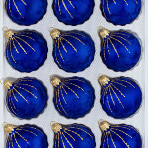"A set of 12 handmade christmas ornaments in ""ice royal blue with golden rain"" in a ball shape."