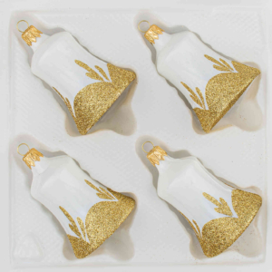 """A set of 4 handmade christmas ornaments in """"vintage classic white gold"""" in a bell shape."""