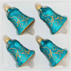 """A set of 4 handmade christmas ornaments in """"ice petrol turquoise gold"""" in a bell shape."""