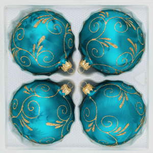 """A set of 4 handmade christmas ornaments in """"ice petrol turquoise gold"""" in a ball shape."""