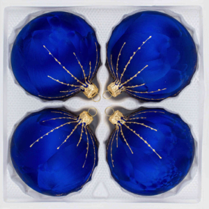 "A set of 4 handmade christmas ornaments in ""ice royal blue with golden rain"" in a ball shape."