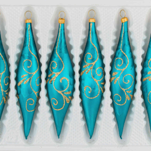 """A set of 6 handmade christmas ornaments in """"ice petrol turquoise gold"""" in a icycles shape."""