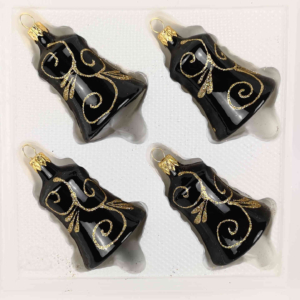 "A set of 4 handmade christmas ornaments in ""glossy black gold"" in a bell shape."