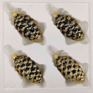 "A set of 4 handmade christmas ornaments in ""glossy black gold"" in a pinecone shape."